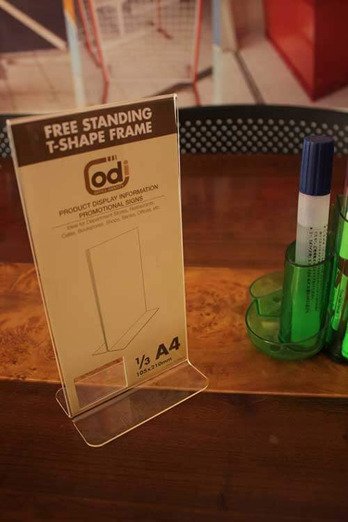 DISPLAY BROSUR ACRYLIC free-standing-t-shape-frame-A4-1,3-(5)