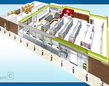 Desain Minimarket / Medium Market ukuran Menengah