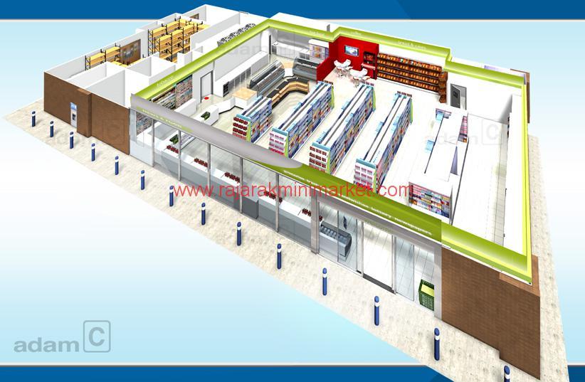 Desain Toko, Minimarket / Medium Market Ukuran Menengah