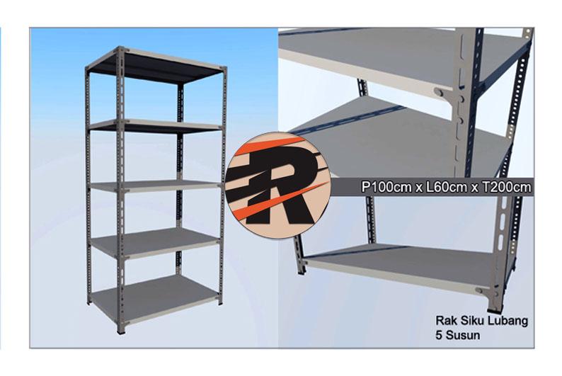 Rak Besi Siku Lubang Ukuran 100 x 60 x 200 cm, 5 Ambalan