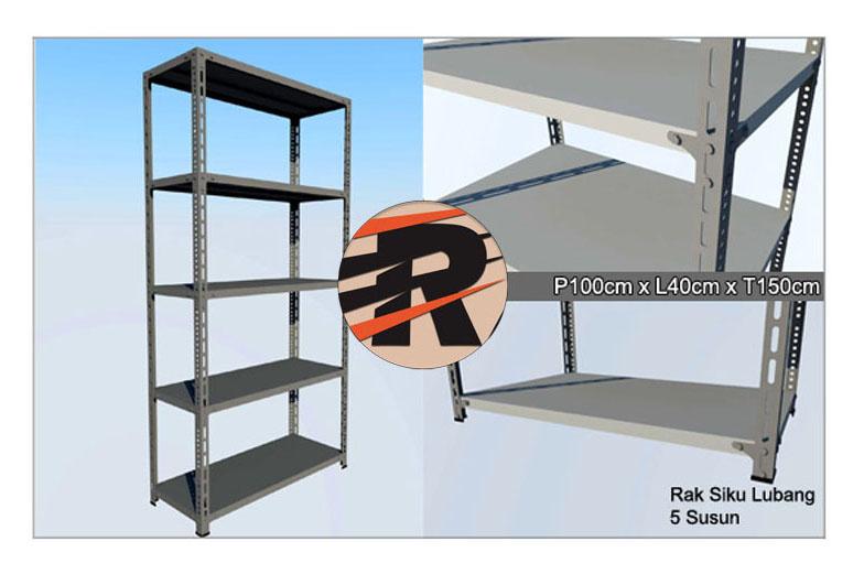 Rak Besi Siku Lubang Ukuran 100 x 40 x 150 cm,5 Ambalan
