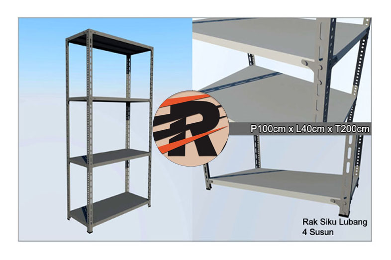 Rak Besi Siku Lubang Ukuran 100 x 40 x 200 cm, 4 Ambalan