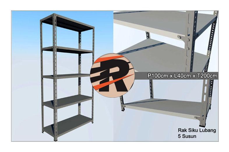 Rak Besi Siku Lubang Ukuran 100 x 40 x 200 cm, 5 Ambalan