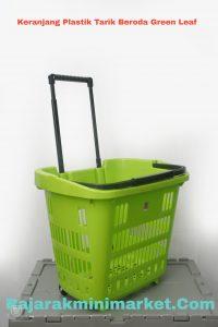keranjang plastik tarik beroda green leaf2