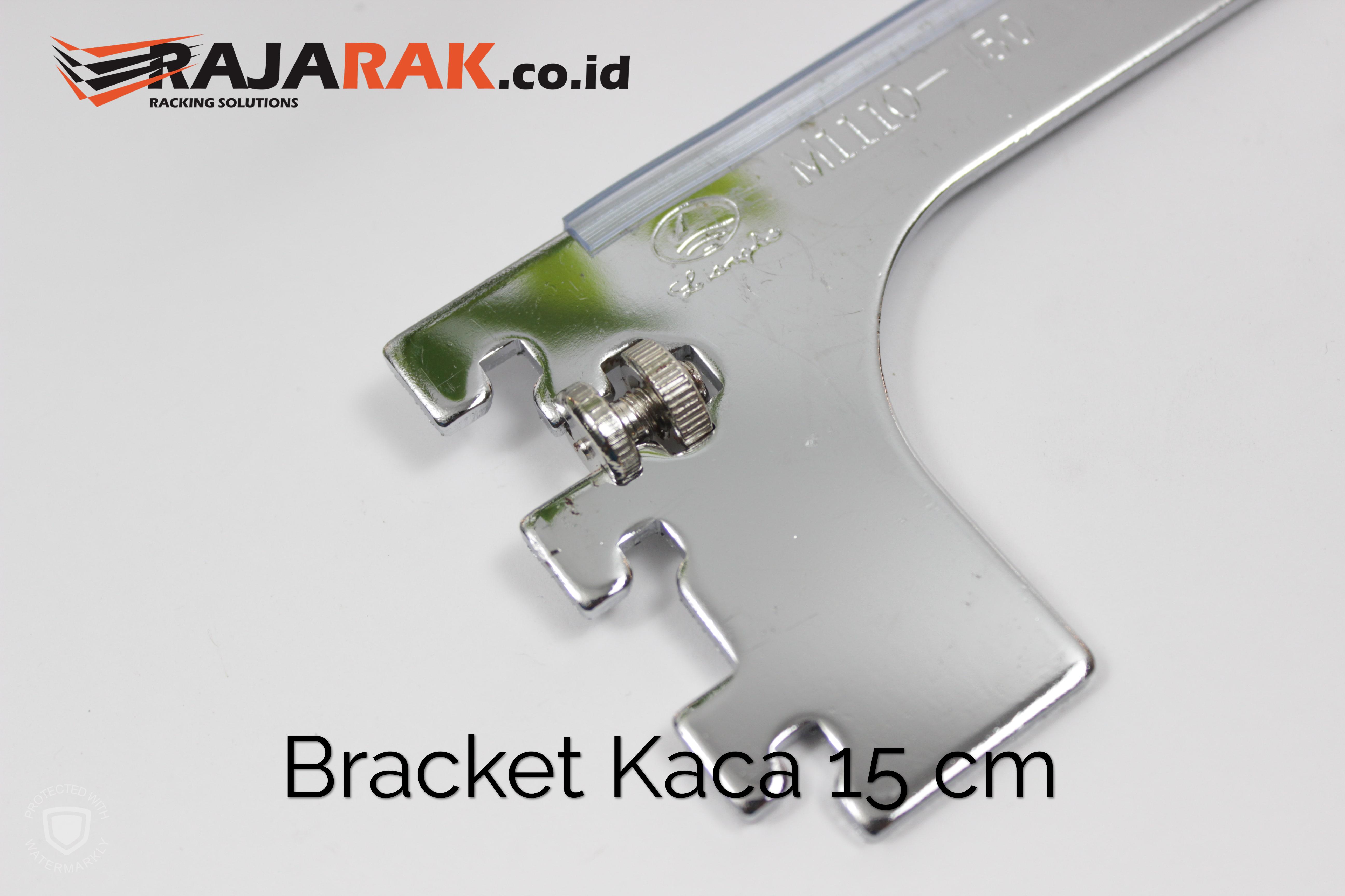 Daun Bracket Kaca 15 cm Tebal 3 mm Warna Chrome