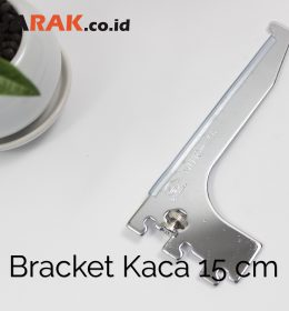 Daun Bracket Kaca 15 cm Tebal 3 mm Warna Chrome