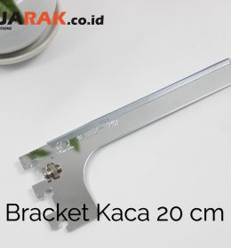 Daun Bracket Kaca 20 cm Tebal 3 mm Warna Chrome