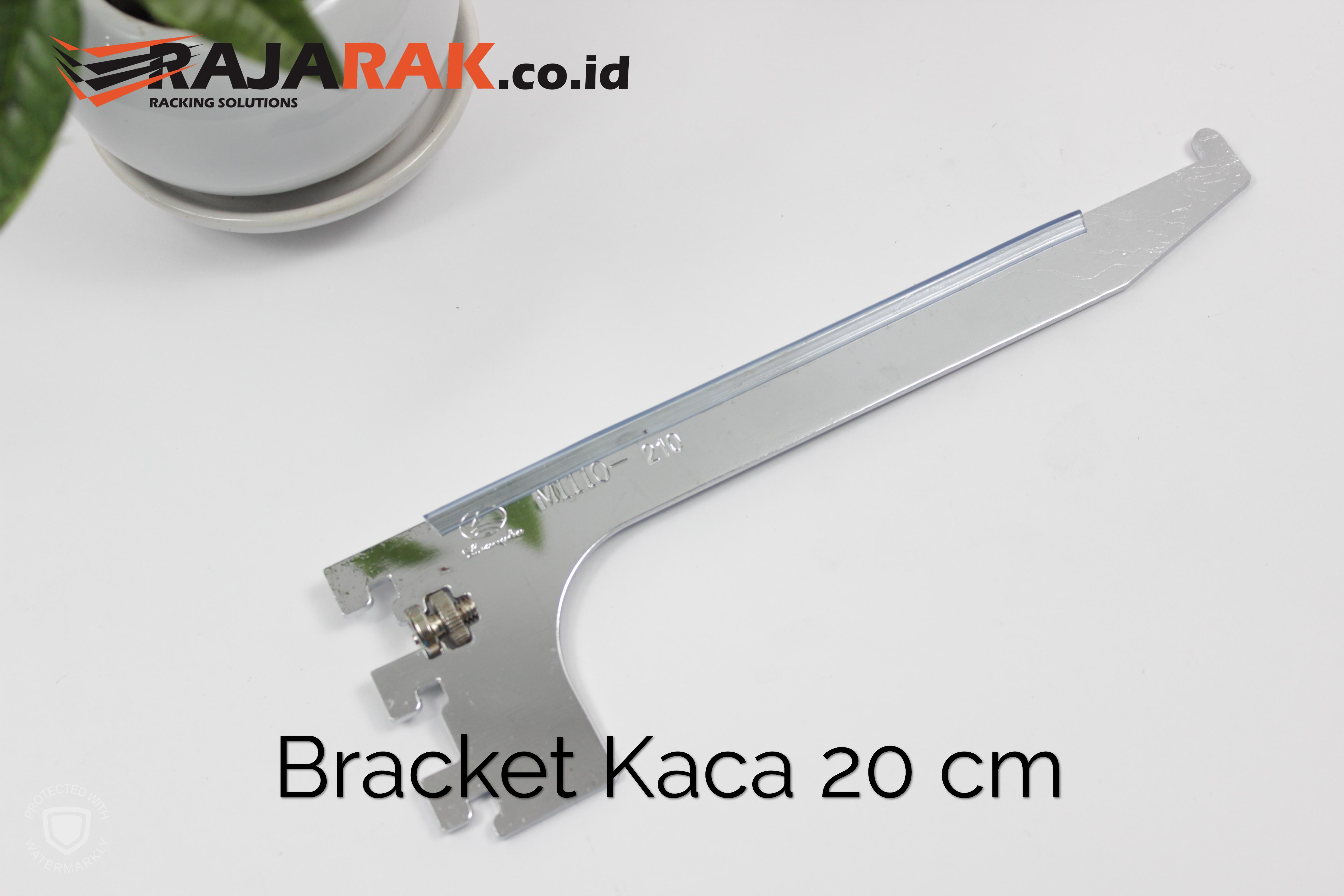 Daun Bracket Kaca 20 cm Tebal 3 mm Warna Chrome