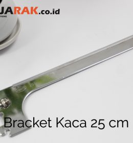 Daun Bracket Kaca 25 cm Tebal 3 mm Warna Chrome