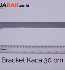 Daun Bracket Kaca 30 cm Tebal 3 mm Warna Chrome