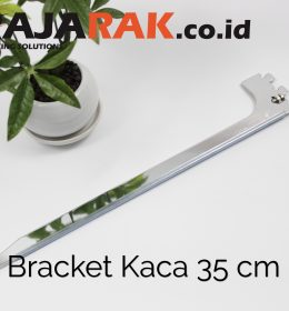 Daun Bracket Kaca 35 cm Tebal 3 mm Warna Chrome