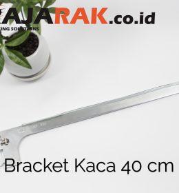 Daun Bracket Kaca 40 cm Tebal 3 mm Warna Chrome