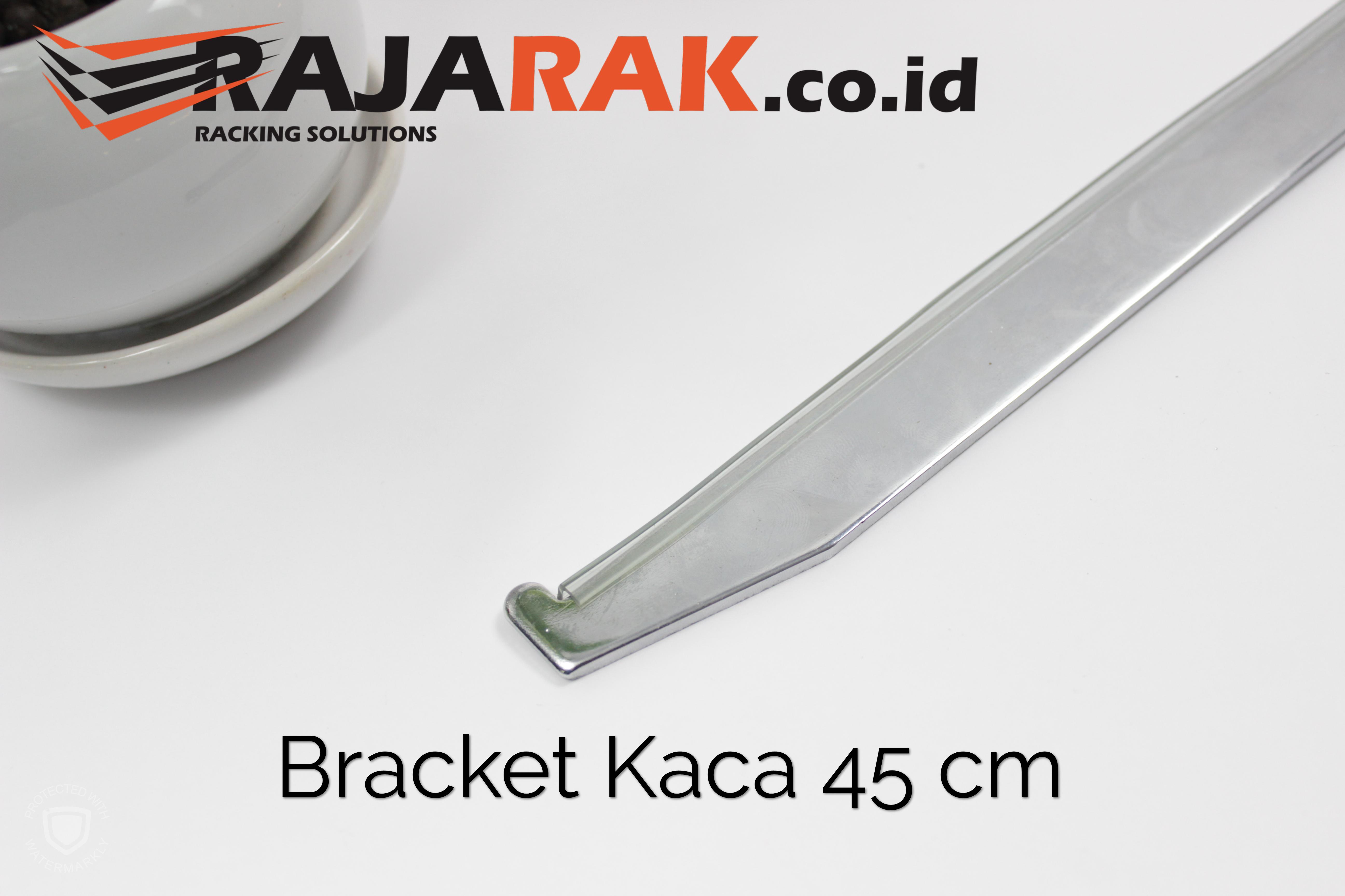 Daun Bracket Kaca 45 cm Tebal 3 mm Warna Chrome
