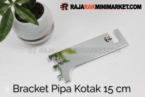 Daun Bracket Pipa Kotak Panjang 15 cm CHROME - Bracket Pipa Kotak H 15
