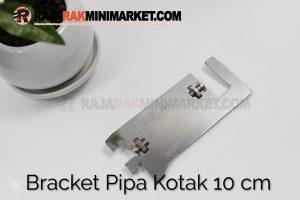 Daun Bracket Pipa Kotak Panjang 10 cm CHROME - Bracket Pipa Kotak H 10