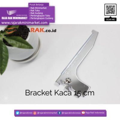 Daun Bracket Kaca 15 cm Tebal 3 mm Warna Chrome rajarakminimarket raja rak indonesia raja rak gudang