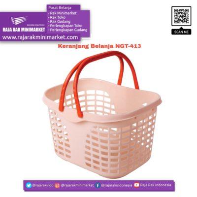 Keranjang Belanja Plastik Jinjing NGT-413 Keranjang Toko Minimarket