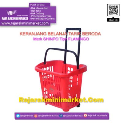 Keranjang Belanja Plastik Tarik & Jinjing SHINPO Tipe FLAMINGO Keranjang Toko Minimarket