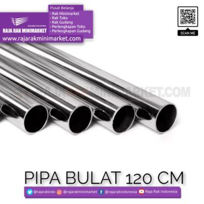 Pipa Bulat Panjang 120 cm – Pipa Bulat Panjang 1.2 m Warna Chrome rajarakminimarket raja rak indonesia raja rak gudang