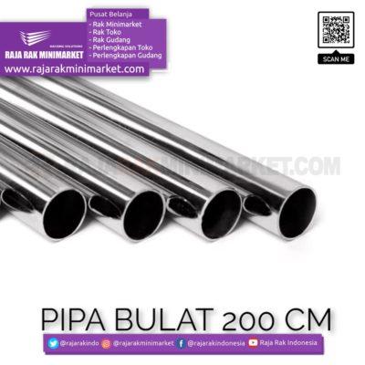 Pipa Bulat Panjang 200 cm – Pipa Bulat Panjang 2 m Warna Chrome rajarakminimarket raja rak indonesia raja rak gudang