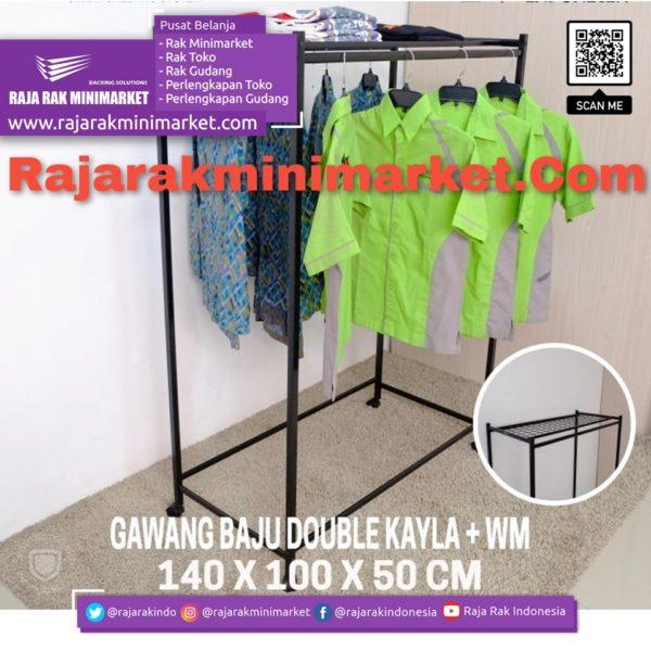 RAK GAWANG BAJU DOUBLE KAYLA + WM | Rak Display Toko Baju Pakaian Busana rajarakminimarket raja rak indonesia raja rak gudang