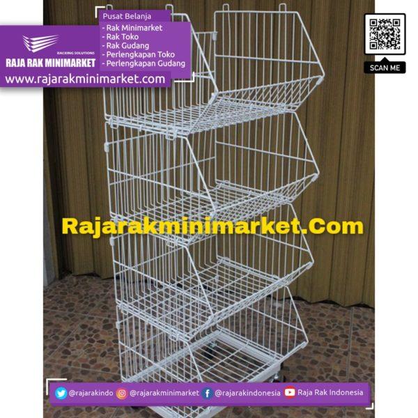 RAK TOKO DISPLAY KERANJANG 4 SUSUN TIPE RKS50 rajarakminimarket raja rak indonesia raja rak gudang
