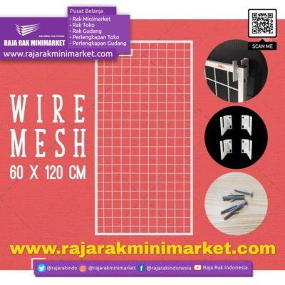 RAM BINGKAI WIREMESH 60×120 CM + H5 WALL PUTIH | Rak Dinding Gantung Mundo Toko Aksesoris