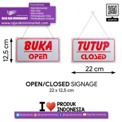SIGNAGE – LOGO PERINGATAN BUKA TUTUP / OPEN CLOSED 22×12,5 CM rajarakminimarket raja rak indonesia raja rak gudang