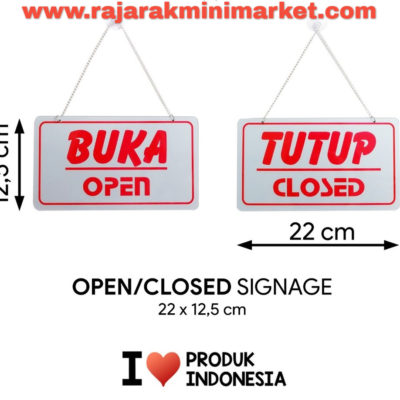 SIGNAGE / LOGO PERINGATAN BUKA TUTUP / OPEN CLOSED 22x12,5 CM