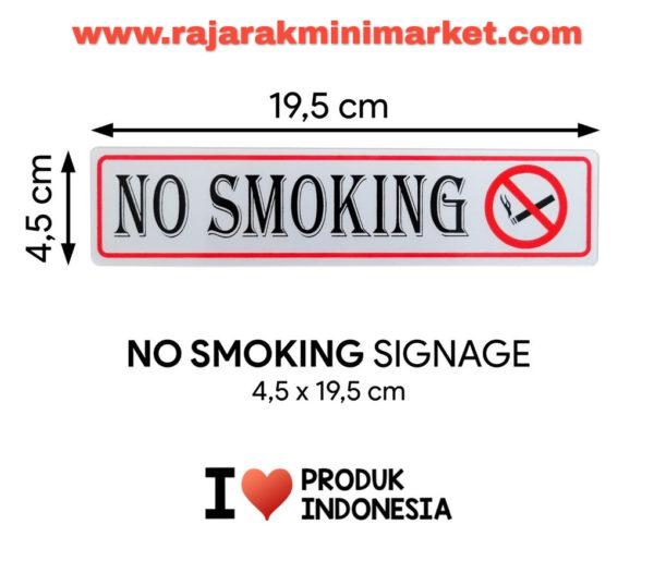 SIGNAGE / LOGO PERINGATAN NO SMOKING 4,5x19,5 CM