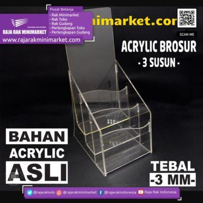 DISPLAY ACRYLIC – AKRILIK BROSUR 3 SUSUN rajarakminimarket raja rak indonesia raja rak gudang