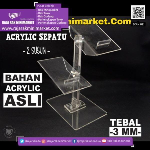 DISPLAY ACRYLIC – AKRILIK SEPATU 2 SUSUN rajarakminimarket raja rak indonesia raja rak gudang