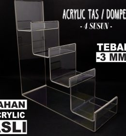 DISPLAY ACRYLIC - AKRILIK DISPLAY TAS / DOMPET 4 SUSUN JAKARTA