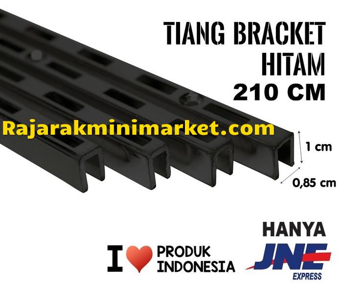 TIANG BRACKET HITAM 180 CM TIPE TBH180 - bracket penyangga display kaca kayu