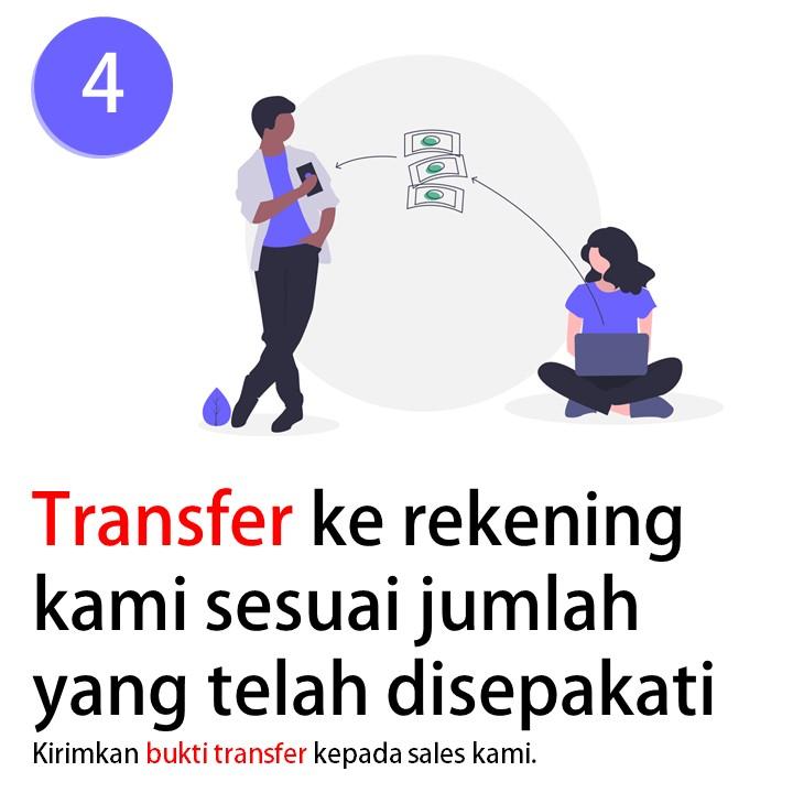 4. Transfer ke rekening kami sesuai dengan jumlah yang telah disepakati. lalu kirimkan bukti transfernya kepada sales kami.